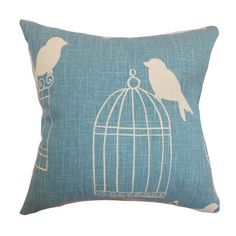 Two cotton pillows with birdcage silhouettes and down fills. Made in Boston. Product: Set of 2 pillowsConstruction Materi...