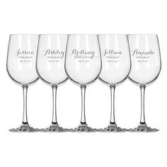 Bridesmaid gift- 10 Laser Engraved Bridesmaid Wine Glasses, Gift for Bridesmaids, Personalized Wine Glasses on Etsy, $99.90