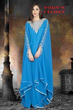 Very Fancy dubai Kaftan/Abaya/jalabiya ladies maxi dress(blue). $149.99, via Etsy.