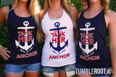 Bachelorette party nautical tank tops for bridesmaids and bride by Bachette. Help us tank her before she drops anchor!
