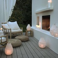 Lighting up your outdoor spaces is important, if you like spending time outdoors at night. Let's consider some ideas how to illuminate your terrace or patio. Outdoor Furniture Sets, Outdoor Living Space, Outdoor Rooms, Outdoor Decor, Outdoor Space, Outdoor Inspirations, Home, Outdoor Design, Outdoor Spaces