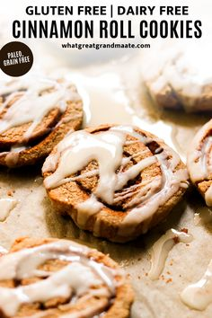 Paleo and nut free cinnamon roll cookies! These are the perfect treat that's delicious, and they are soft and chewy with coconut butter icing. They are easier than you think and so fun to make. #glutenfreecookies #cinnamonrolls #paleo #grainfreebaking #grainfree #dairyfree #glutenfreedairyfree Best Gluten Free Desserts, Gluten Free Baking, Dairy Free Recipes, Real Food Recipes, Baking Recipes, Whole30 Recipes, Delicious Recipes, Cookie Recipes, Cinnamon Roll Cookies