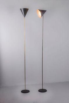 Luigi Caccia Dominioni and Ignazio Gardella; Painted Metal and Brass 'Lte 5 Imbuto' Floor Lamps by Azucena, 1954.