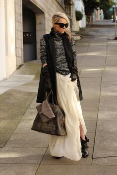 Dress worn as skirt: ADAM. Sweater: Zara. Vest: H&M. Shoes: Givenchy (old). Sunglasses: House of Harlow. Purse: YSL. Clutch: Tory Burch (last seen here). Gloves: All Saints.