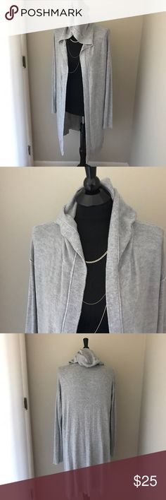 Long Gray Hooded Cardigan Long length hooded gray Cardigan by Mossimo. Worn once and in excellent condition. Perfect for spring layering. Mossimo Supply Co Sweaters Cardigans