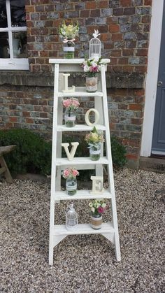 rustic step ladders and props at weddings. Ladder Wedding, Wedding Props, Wedding Hire, Chic Wedding, Our Wedding, Wedding Ideas, Wedding Jewelry, Valentine Decorations, Wedding Decorations