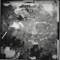 A German pilot's aerial capture of a site of interest over Tallaght during world war 2.