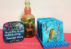 Madly in love with Decoupage…  Cute Little Birdies on MDF Coasters with Stand…