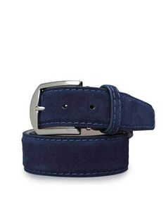 Genuine Suede Belt In Navy Blue With Denim from L.E.N. The Best of Bespoke Belts