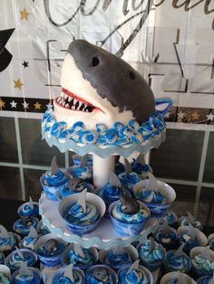 Jaws Cake Tower - Jaws Cake with Cupcakes.  Made this for my daughter's graduation party.  She loves Jaws!!!!!!!!!