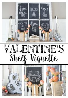 Valentine's Shelf Vignette Decor + Free Printable Chalkboard Template | blesserhouse.com #valentinesday #freeprintable