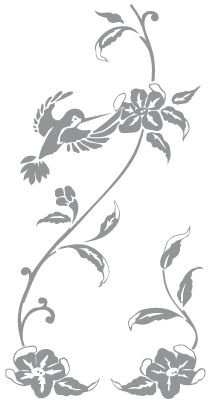 Glass etching stencil of Hummingbird, Flower and Vine. In category: Birds, Flowers, Flowers & Birds