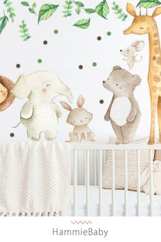 Our aesthetic wallpaper and peel and stick wall decals are perfect for adding an accent wall to your baby room, nursery, kids room or playroom. We have wallpapers of all styles and nursery themes. Safari Theme, Safari Nursery, Animal Nursery, Nursery Themes, Nursery Decor, Jungle Baby Room, Wall Mural Decals, Nursery Neutral, Safari Animals