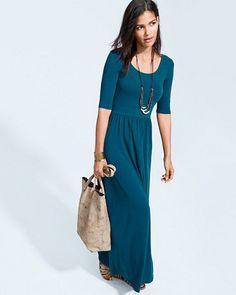 Elbow-Sleeve Scoop-Neck Maxi Dress - $98