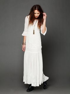 A dress perfect for a bohemian casual #wedding! White Romance Embroidered Maxi by http://freepeople.com/clothes-dresses/white-romance-embroidered-maxi/  Photo Credit: http://freepeople.com