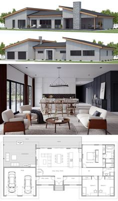 House plans home plans house designs houseplans homeplans adhouseplans dwell archdaily archilovers New House Plans, Dream House Plans, Modern House Plans, Small House Plans, Modern House Design, Beach House Floor Plans, Modern Floor Plans, Three Bedroom House Plan, Sims House