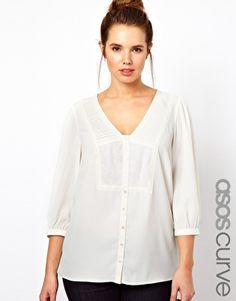 Enlarge ASOS CURVE Exclusive Blouse With Embroidered V Neck