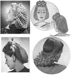 Snoods Collection 4 Vintage Crochet Patterns PDF by annalaia