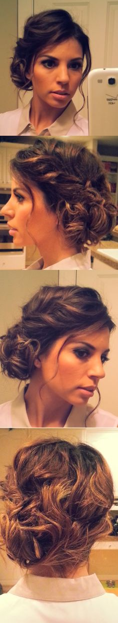 Beautiful, soft, messy side bun! Love this! It can go from day to night! Karen this is what I'm doing to yours!