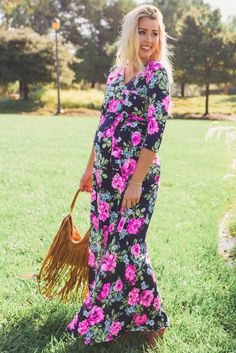 Navy Neon Floral Draped 3/4 Sleeve Maxi Dress