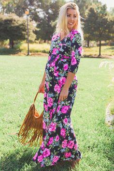 Navy Neon Floral Draped 3/4 Sleeve Maxi Dress