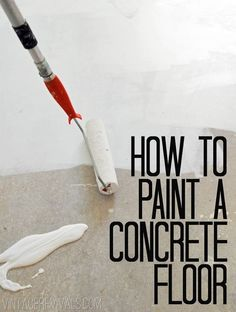 To Paint Concrete Floors Tutorial . Sherman Williams (porch & floor paint + H&C contrete enamel- glossy + pole nap roller).How To Paint Concrete Floors Tutorial . Sherman Williams (porch & floor paint + H&C contrete enamel- glossy + pole nap roller). Porch Flooring, Basement Flooring, Basement Remodeling, Flooring Ideas, Basement Ideas, Dark Basement, Basement Decorating, Basement Ceilings, Remodeling Ideas