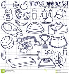 Hand Drawn Fitness Doodle Set. Vector Illustrations - Download From Over 60 Million High Quality Stock Photos, Images, Vectors. Sign up for FREE today. Image: 68536966