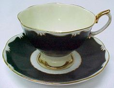 Royal Albert Crown China Black Ivory Gold Cup and Saucer