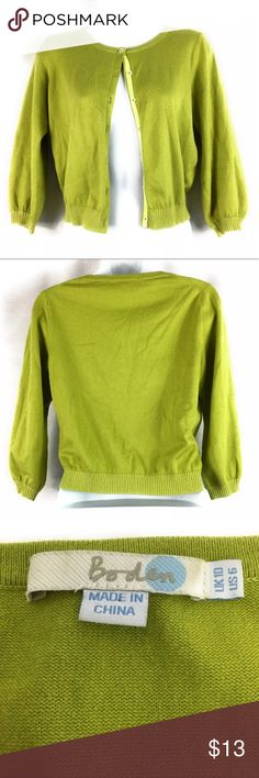 """Boden Cardigan Sweater Cropped Green Lightweight Boden Women's Lightweight Cotton Cardigan Sweater. Size 10. Has 3/4 Sleeves. Button up. Gently worn with no rips or stains. Please see measurements and pictures for details.  Underarm to Underarm 18""""  Center Back Length 19""""  Sleeve Length 18"""" Boden Sweaters Cardigans"""