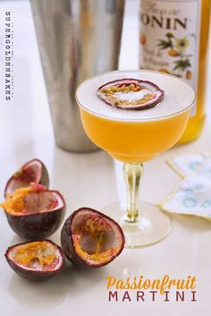 Supergolden Bakes: Passionfruit martini also known as pornstar martini. Fruit Cocktail Drink, Fruit Drinks, Cocktail Glass, Beverages, Fruit Juice, Wine Drinks, Fresh Fruit, Alcoholic Drinks, Passionfruit Cocktail