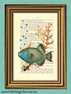 Black Friday! Buy 1 Get 2! - BLUE FISH  Sea Life  Dictionary art print  by littlevintagechest, $7.99