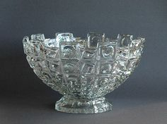 Heavy pressed glass crystal fruit bowl by Libochovice