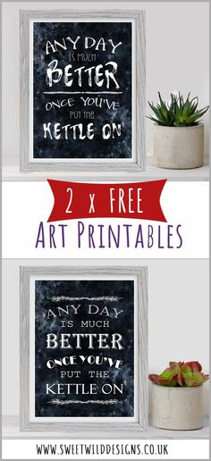 Get 2 FREE kitchen art printables today. Fun Crafts, Paper Crafts, Free Prints, Wall Art Designs, Dream Decor, New Baby Gifts, Creative Home, Thank You Gifts, Art Blog