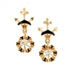 Vintage Enamel Diamond Drop Earrings::featuring Round Brilliant cut diamonds weighing app. 0.32ctw., with black enamel detailing in the Victorian style, fashioned in 14k. K. Goldschmidt Jewelers - New York, NY. Circa 1945. Length 3/4 inch