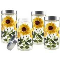 Creative and Modern Ideas: White Kitchen Decor Above Cabinets rustic kitchen decor yellow.Kitchen Decor Above Cabinets Pot Racks kitchen decor wall wood. Sunflower Themed Kitchen, Sunflower Bathroom, Sunflower Room, Sunflower Kitchen Decor, Glass Storage Jars, Glass Canisters, Jar Storage, Kitchen Canisters, Glass Containers