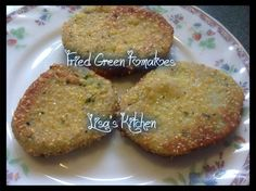 Fried Green Tomatoes  INGREDIENTS: 4 large green tomatoes 2 eggs 1/2 cup milk 1 cup all-purpose flour 1/2 cup cornmeal 1/2 cup bread crumbs (I used Italian seasoned ones) salt and pepper oil for frying DIRECTIONS: Slice tomatoes 1/2 inch thick. Whisk eggs and milk together in a medium-size bowl. Scoop flour onto a plate. Mix cornmeal, bread crumbs and salt and pepper on another plate. Dip tomatoes into flour to coat. Then dip the tomatoes into milk and egg mixture. Dredge in breadcrumbs to…