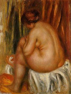"""""""お風呂の後の(ヌードの研究)"""", オイル バイ Pierre-Auguste Renoir (1841-1919, France)"""