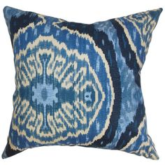 Denim-hued pillow with an ikat medallion motif and feather-down fill. Made in the USA.    Product: PillowConstruct...