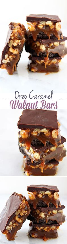 "Oreo Caramel Walnut Bars are so rich and decadent with a layer of Oreo cookie crust, a layer of thick salted caramel and walnuts, all topped with chocolate. Dubbed ""one of the best desserts ever!"""