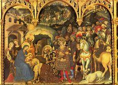 Gentile da Fabriano's Adoration of the Magi (1423–5) Tempera on wood, 300 x 282 cm.