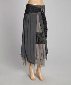 Look at this #zulilyfind! Pretty Angel Gray & Black Floral-Trim Linen-Blend Maxi Skirt by Pretty Angel #zulilyfinds