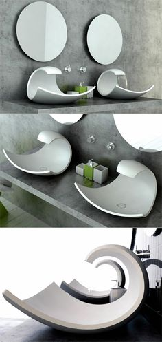 Aufsatzbecken Design-futuristisch-Joel Roberts-Eaux-Eaux Badezimmer Accessoires - Hannah O. Bathroom Sink Design, Bathroom Sink Tops, Modern Bathroom Sink, Sink Faucets, Bathroom Interior, Tranquil Bathroom, Modern Bathrooms, Concrete Bathroom, Bathroom Images
