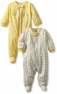 Gerber Unisex-Baby Newborn 2 Pack Sleep N Play Zip Front Ducks, Yellow, 0-3 Months Gerber. $8.79