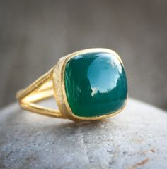 Gold Emerald Green Onyx Ring  Cushion  Adjustable Ring by OhKuol, $59.00
