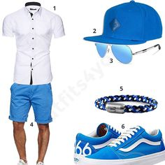 Männer-Outfit mit weißem Kurzarmhemd, hellblauem Djinns Cap und Indicode Shorts, Duco Pilotenbrille, Fischers Fritze Armband und Vans 66 Sneakern.