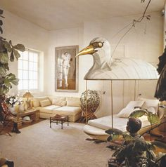 Jacques Grange's apartment in Paris, 1975 - can i please have that bird bed?!