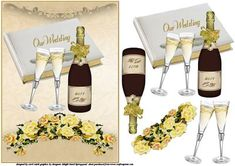 A large decoupage sheet for the wedding couple has a champagne bottle with the year 2011 and two wedding rings on the label and two champagne glasses all in front of the wedding book with our wedding on and trimmed with a spray of roses thank you for looking please take a peek at my other items