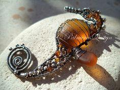 15% OFF. SALE. HONEY sea horse wire wrapped sea glass pendant.
