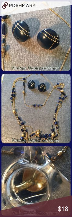 Vintage Napier Navy blue pierce earrings Vintage Napier navy blue pierced earrings, hallmark, necklace would be a bonus gift! Vintage Jewelry