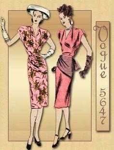 1940s Dress Pattern Vogue 5647 Vintage WWII